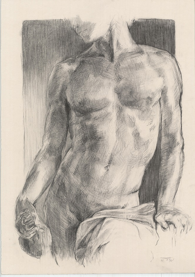 Man nude Drawing Charcoal and white chalk