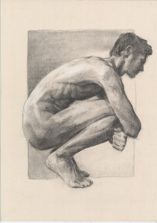 Nude man drawing charcoal and white chalk Realistic art Large